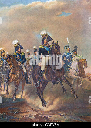 Tsar Nicholas I (Nikolai I Pavlovich) of Russia (1796-1855, reigned 1825-1855).  Seen here with others on horseback, - Stock Photo