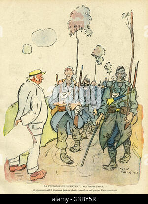 Cartoon, Victory singing, with happy soldiers walking along a road.  A pessimistic civilian man watches them, and - Stock Photo