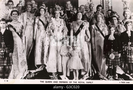Queen Elizabeth II and members of the Royal Family captured in an informal group portrait at the time of the Coronation - Stock Photo