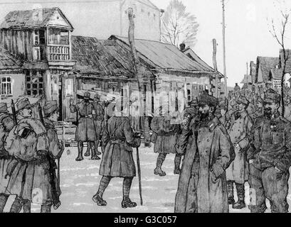 WW1 - German troops on the Eastern Front - behind the lines - the arrival of a battalion (illustration caption in - Stock Photo