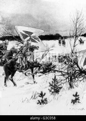 WW1 - Eastern Front - German Taube Aircraft captured by Russian cavalry unit     Date: 1915 - Stock Photo