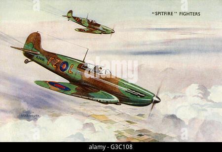 A pair of RAF Supermarine Spitfire Fighters - stalwarts of the British air force throughout WW2 and instrumental - Stock Photo