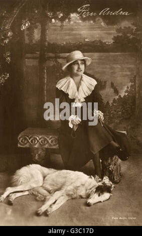 Fern Andra (1893-1974), German actress, film director, scriptwriter and producer, with her Borzoi dog in a studio - Stock Photo
