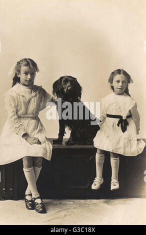 Studio portrait, two girls in white dresses with a black spaniel, photo by Gregg Couper, Watford.     Date: circa - Stock Photo