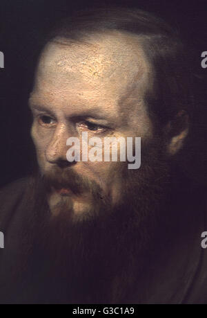 Fyodor Mikhailovich Dostoevsky (1821-1881), Russian writer and philosopher, seen here in a detail from an oil on - Stock Photo
