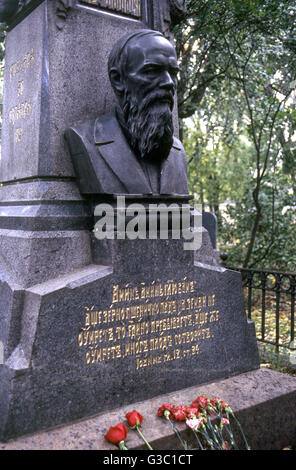 Tomb of Fyodor Mikhailovich Dostoevsky (1821-1881), Russian writer and philosopher, in Alexander Nevsky Lavra (Monastery), - Stock Photo