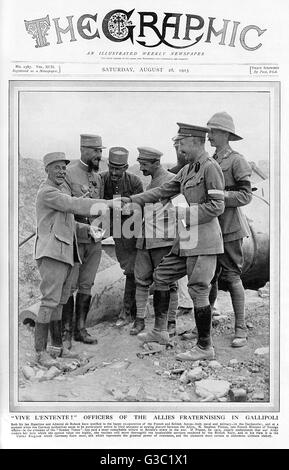 Allied soldiers in Gallipoli during the First World War.     Date: 1915 - Stock Photo