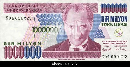 One Million (1000000) Turkish Lira Banknote - bearing a portrait of Mustafa Kemal Ataturk (1881-1938).     Date: - Stock Photo