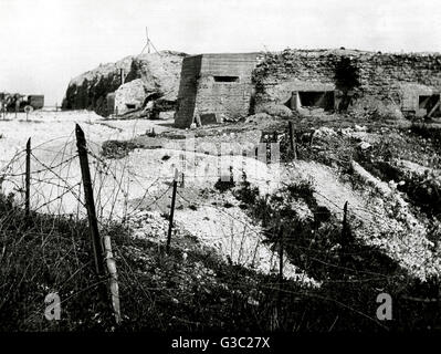 A post-war view of the heavily damaged fortifications, wire fences and bunkers at Fort Vaux on the Verdun Battlefield, - Stock Photo