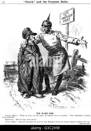 """WW1 - A German officer, or the """"Prussian Bully"""" tries to get on the """"blind side"""" of Holland, - Stock Photo"""