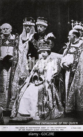 Queen Elizabeth II's coronation at Westminster Abbey on 2nd June, 1953.     Date: 1953 - Stock Photo