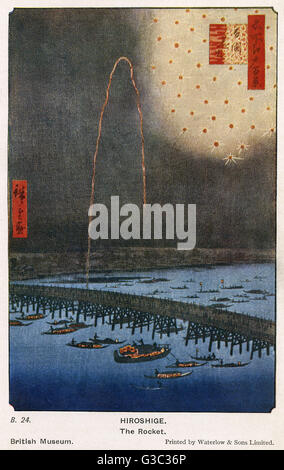 Fireworks at Ryogoku (Ryogoku Hanabi), No. 98 from One Hundred Famous Views of Edo by Utagawa Hiroshige (1797 - - Stock Photo