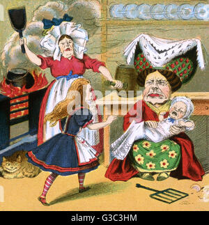 Alice in Wonderland, Alice meets the Duchess, her cook and a screaming baby.      Date: early 20th century - Stock Photo
