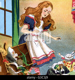 Alice in Wonderland, Alice in the courtroom, standing up to give evidence and upsetting the jury box.       Date: - Stock Photo