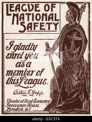 WW1 - League of National Safety - set up to promote the value of rationing, the efforts to avoid wastage, to further - Stock Photo