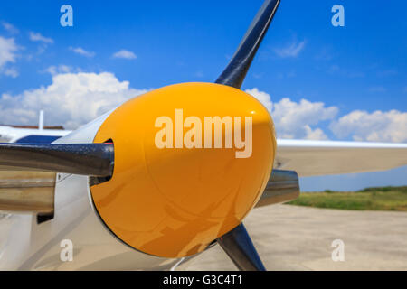 Yellow propeller of airplane - Stock Photo