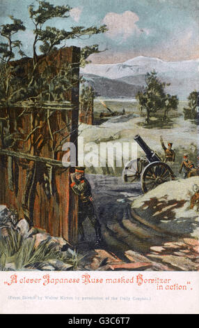 Russo-Japanese War - Japanese Howitzers disguised by Wooden Camouflaged Screens.     Date: 1905 - Stock Photo