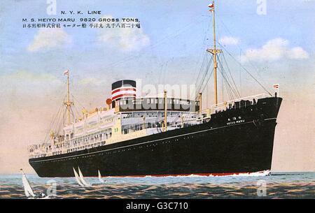 N.Y.K. Line (Nippon Yusen Kaish) - M.S. Heiyo Maru.     Date: 1938 - Stock Photo