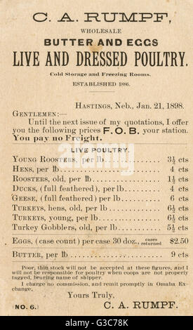 Trade card for C A Rumpf, wholesale poulterer of Hastings, Nebraska, USA, offering butter and eggs as well as live - Stock Photo