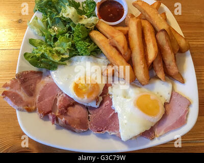 Ham, egg and chips pub bar meal - Stock Photo