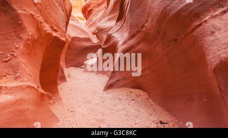 Narrow path through winding sandstone slot canyon in desert. - Stock Photo