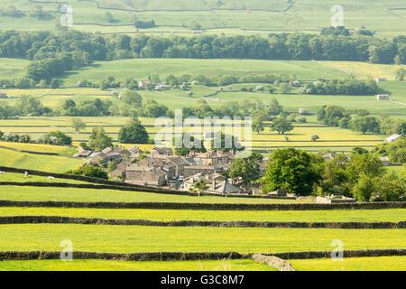 Askrigg village in Wensleydale, The Yorkshire Dales, England, June 2016 - Stock Photo
