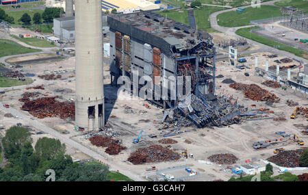 aerial view of Didcot Power Station in Oxfordshire, including the collapsed boiler house which killed 3 workers - Stock Photo