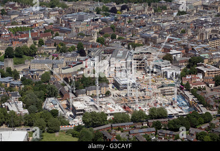 aerial view of construction work on the Westgate Centre Development in Oxford, UK - Stock Photo