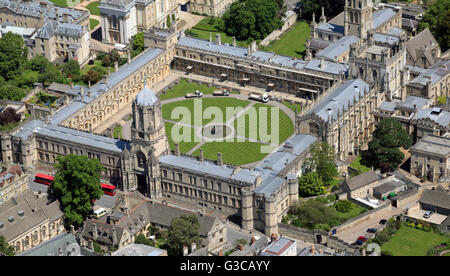 aerial view of Christ Church College University, Oxford, UK - Stock Photo