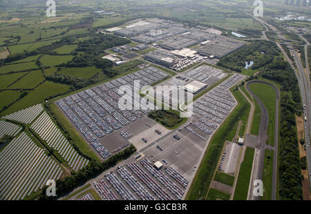 aerial view of Toyota Motor Manufacturing car production plant bear Derby, UK - Stock Photo