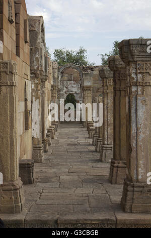 Pillars. Jami Masjid or Mosque. Champaner Pavagadh Archaeological Park. UNESCO World Heritage Site. Panchmahal, - Stock Photo
