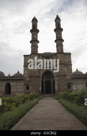 Entrance and courtyard. Jami Masjid Champaner Pavagadh Archaeological Park. UNESCO World Heritage Site. Panchmahal, - Stock Photo