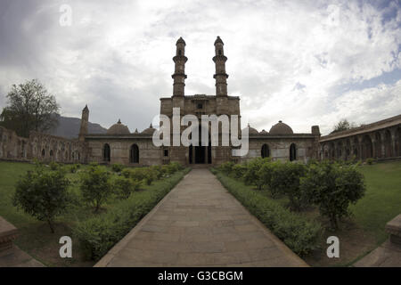 Entrance and courtyard. Jami Masjid. Champaner Pavagadh Archaeological Park. UNESCO World Heritage Site. Panchmahal, - Stock Photo