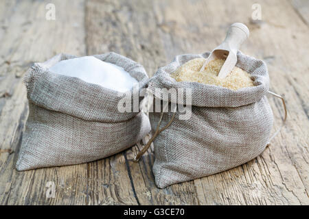 Various types of sugar, brown sugar and white - Stock Photo