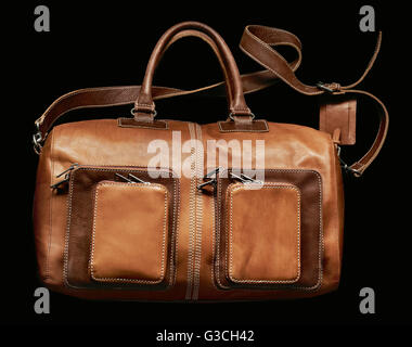 Still life, fashion, leather bag, brown - Stock Photo