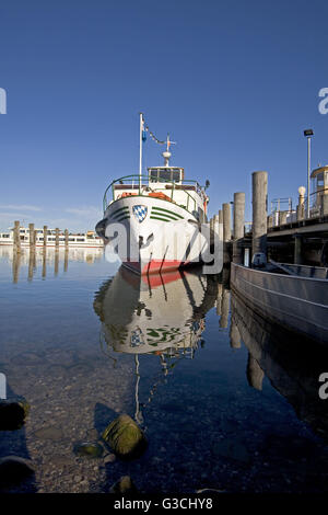 Harbour pier in Prien at the Chiemsee - Stock Photo