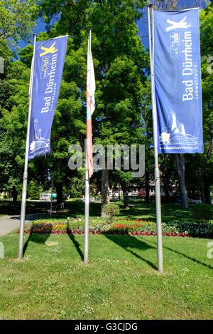 Flags in front of the health resort park, Bad Dürrheim, Baden-Württemberg, Germany, Europe - Stock Photo