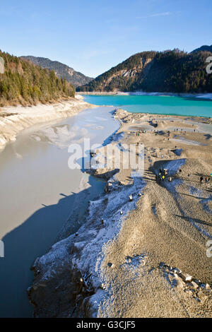 Low water at the Sylvenstein Dam - Stock Photo
