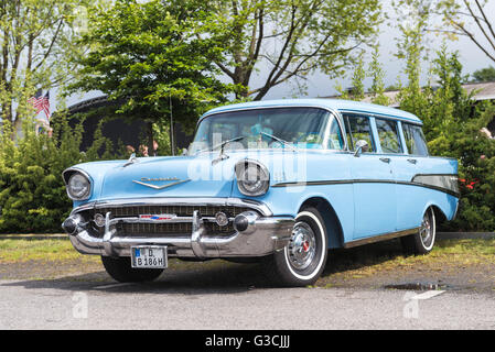 Verl, North Rhine-Westphalia, Germany, Chevrolet Bel Air Townsman, year of manufacture approx. 1957, - Stock Photo