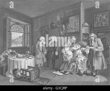MARRIAGE A LA MODE: Death of the countess: Hogarth, antique print 1835 - Stock Photo