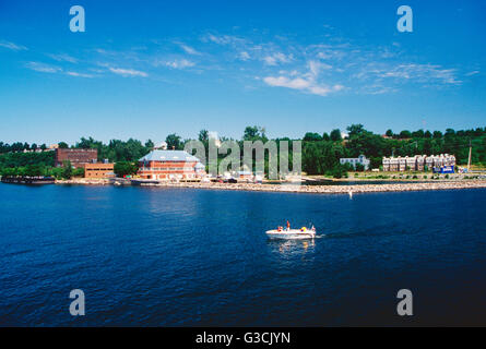 Motorboat on Lake Champlain; between New York & Vermont states; USA - Stock Photo
