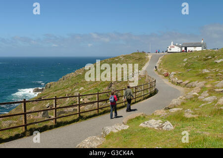 View on the first and last house in England, Lands End, Cornwall, Southern England, Great Britain - Stock Photo