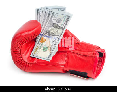 Red boxing glove holding dollars bills isolated on white background - Stock Photo