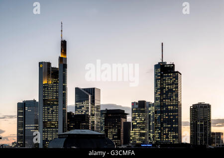 Frankfurt on the Main, Hessen, Germany, Europe, skyline Frankfurt on the Main with the high rises, Commerzbank tower, - Stock Photo