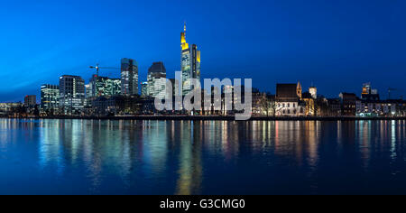 Frankfurt on the Main, Hessen, Germany, Europe, view at the Frankfurt skyline with the banking district, panorama - Stock Photo