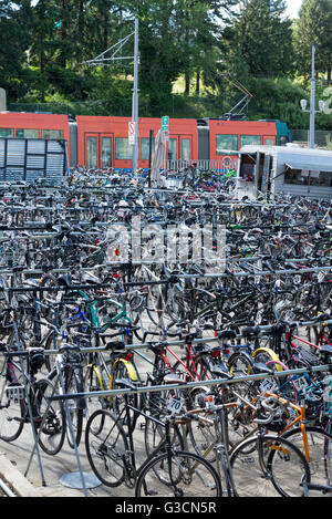 Bicycle parking at the Portland Aerial Tram in Portland, Oregon. - Stock Photo
