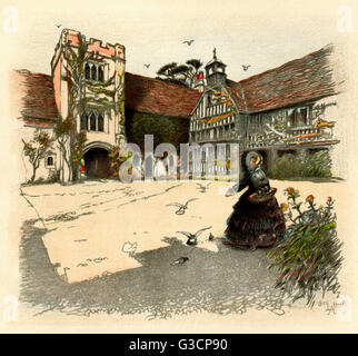 Illustration by Cecil Aldin, Old Manor Houses -- Ightham Mote, a medieval moated manor house near Sevenoaks, Kent, - Stock Photo