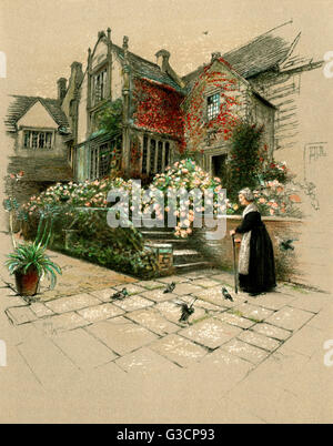 Illustration by Cecil Aldin, Old Manor Houses -- Bingham's Melcombe manor house, dating back to the 13th century, - Stock Photo