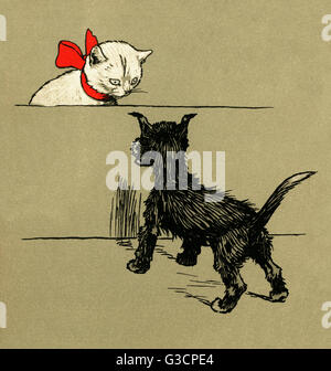 Illustration by Cecil Aldin, The White Kitten Book.  Snow meets Sweep, a black puppy from a nearby house.       - Stock Photo
