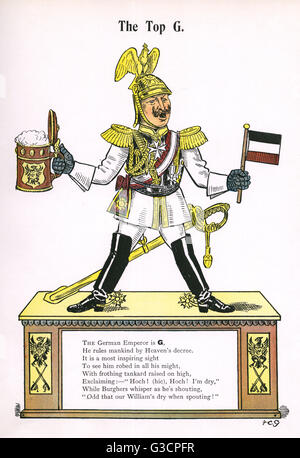 'The Top G'. German Emperor Kaiser Wilhelm II (1859-1941) as a boorish Struwwelpeter with beer and flag in hand... - Stock Photo